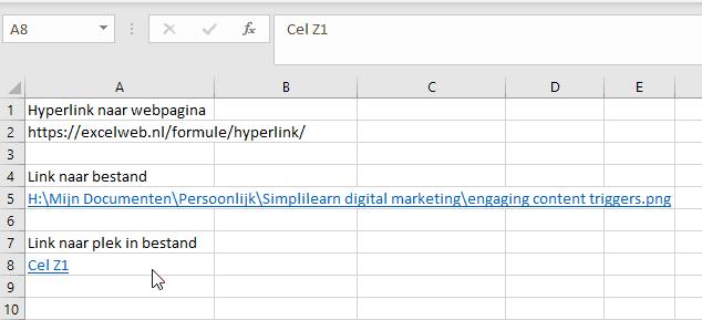 Celverwijzing met een hyperlink