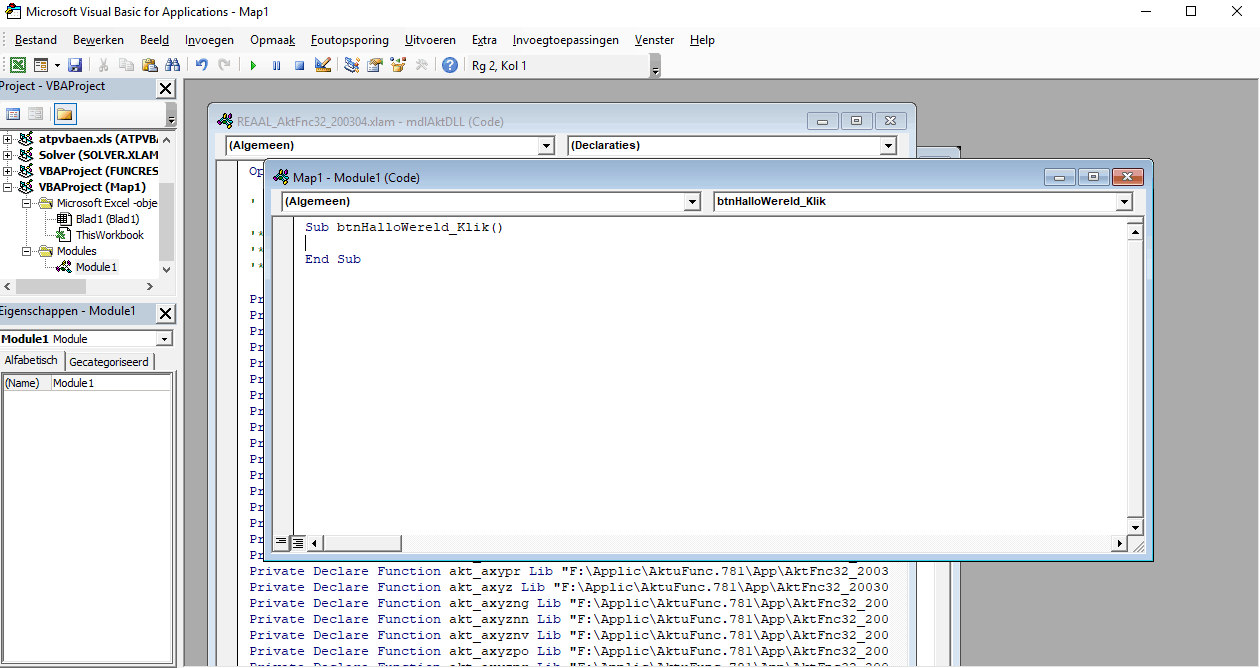 Codevenster van VBA in Excel