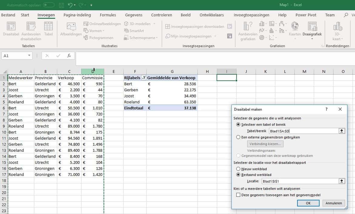 Draaitabel invoegen in Excel