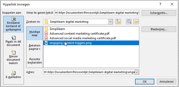 Hyperlink toevoegen naar een bestand