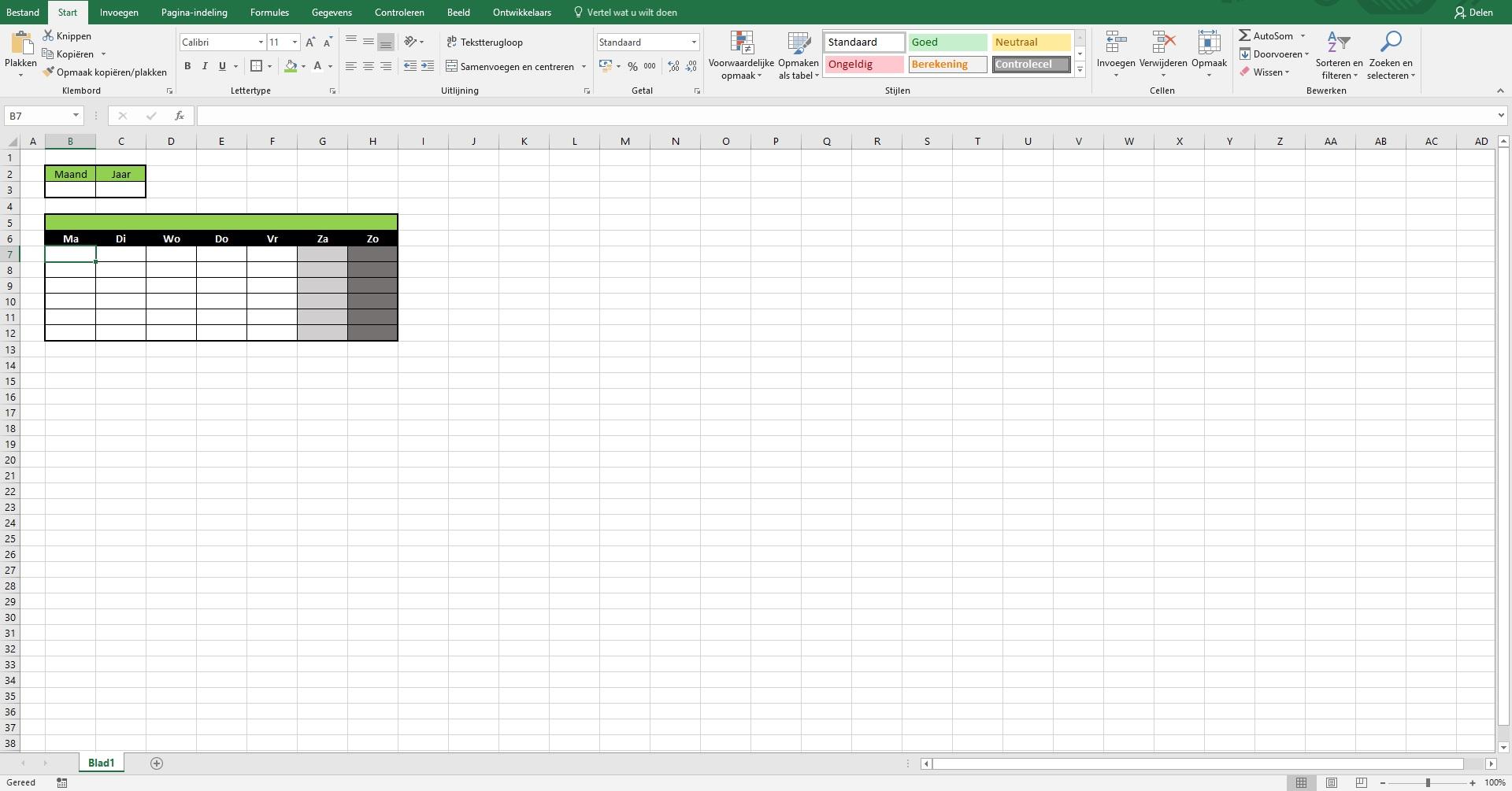 Uitleg voor het maken van een kalender.