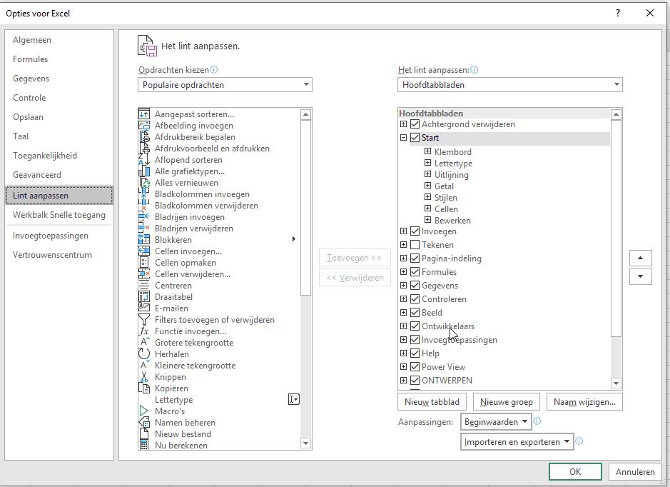 Opties voor ontwikkelaars aanzetten in Excel