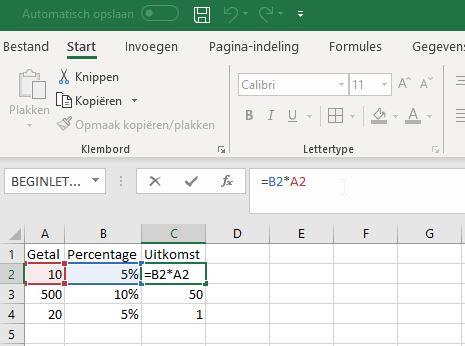 Percentage berekenen Excel met een formule