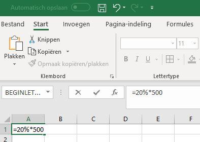 Percentage berekenen in Excel
