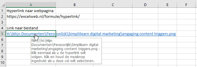 Tooltip bij hyperlink in Excel