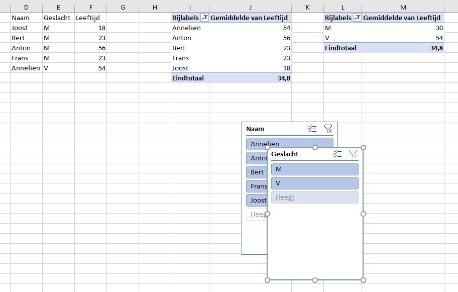 Twee aangemaakte slicers in Excel