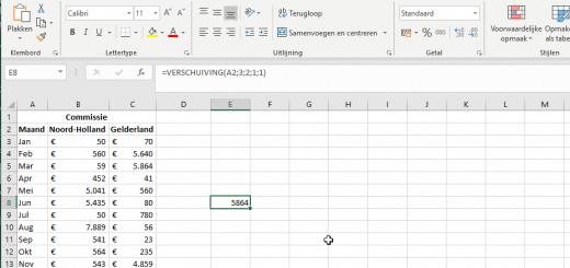 Verschuiving functie in Excel