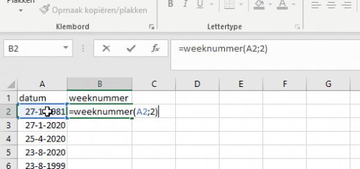 Weeknummer opzoeken in Excel