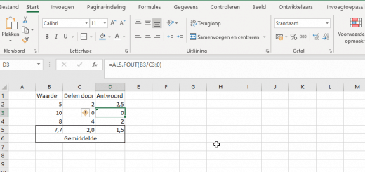 formule als fout in Excel