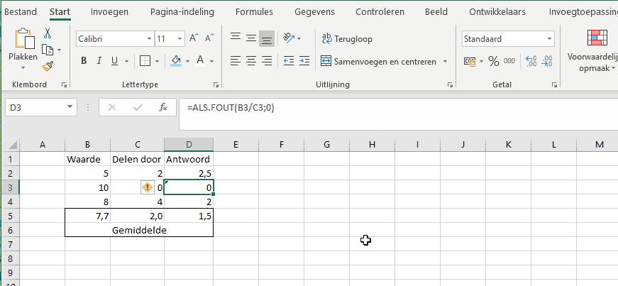formule als fout in Excel