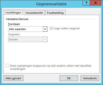 Het gegevensvalidatie scherm