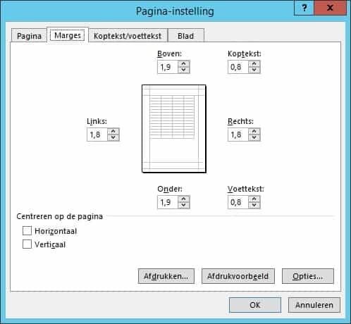 Uitleg van het scherm pagina-instelling