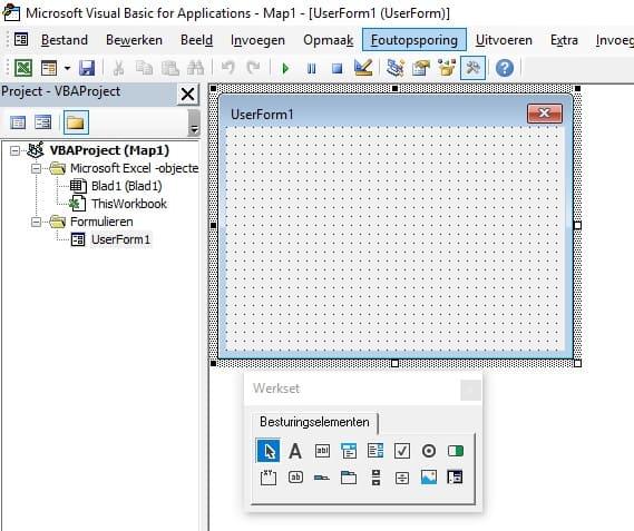 Scherm voor het toevoegen van een userform.